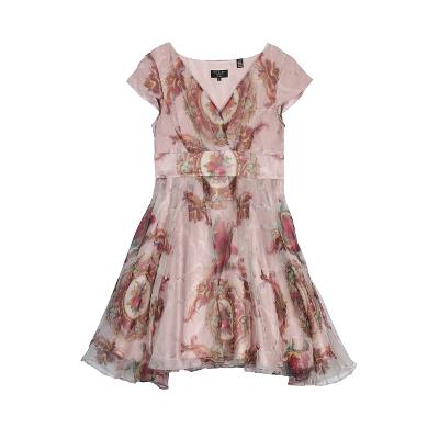 antique pattern dress pink